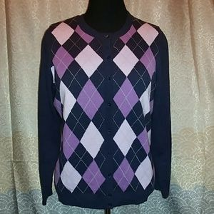 Purple & Navy Argyle Cardigan Sweater